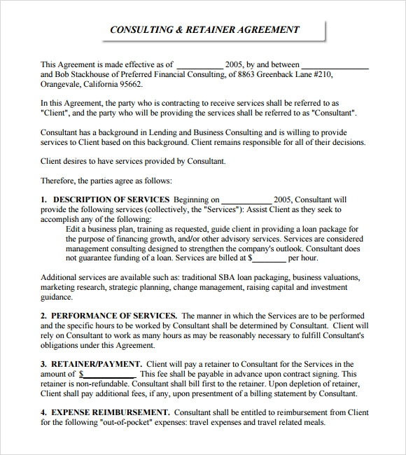 Retainer Agreement 8 Free Samples Examples Format