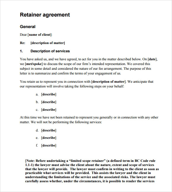 Retainer Agreement Sample   Example Format