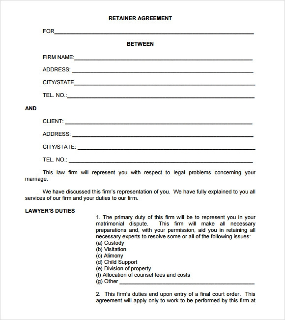 Retainer Agreement Sample 8 Example Format – Sample Retainer Agreement Template