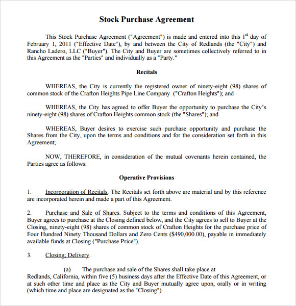 Sample Purchase Agreement 8 Example Format – Stock Purchase Agreement