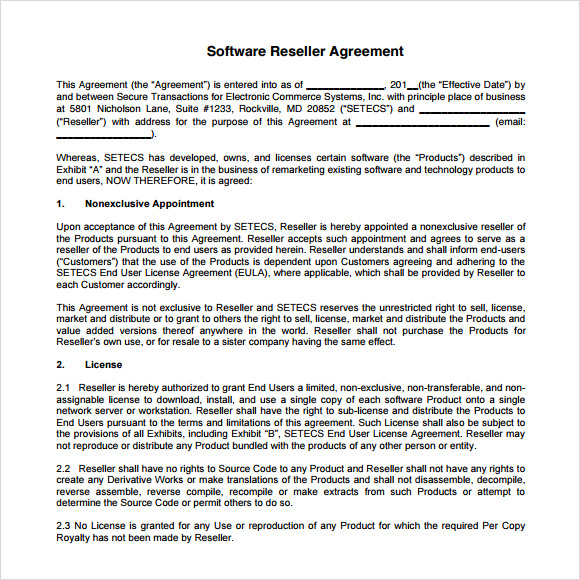 Sample Reseller Agreement   Examples Format