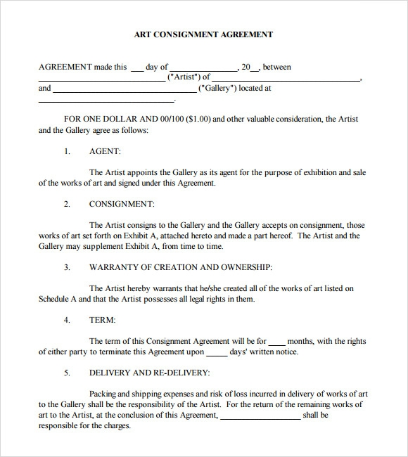 9 sample consignment agreements sample templates for Consignment store contract template