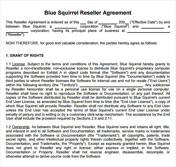 Sample Reseller Agreement 6 Examples Format – Sample Reseller Agreement Template