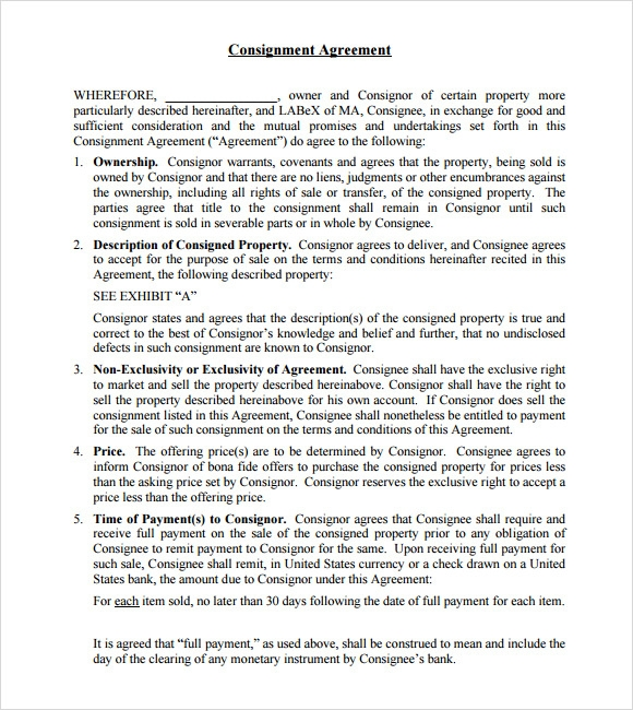 free consignment agreement