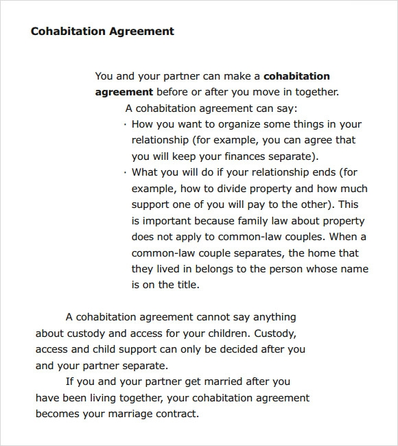 7 Cohabitation Agreement Samples Templates Examples Sample