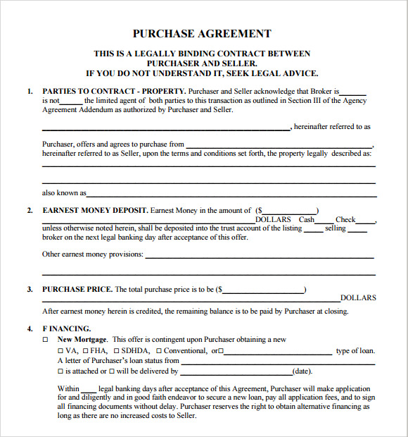 free real estate purchase agreement template1