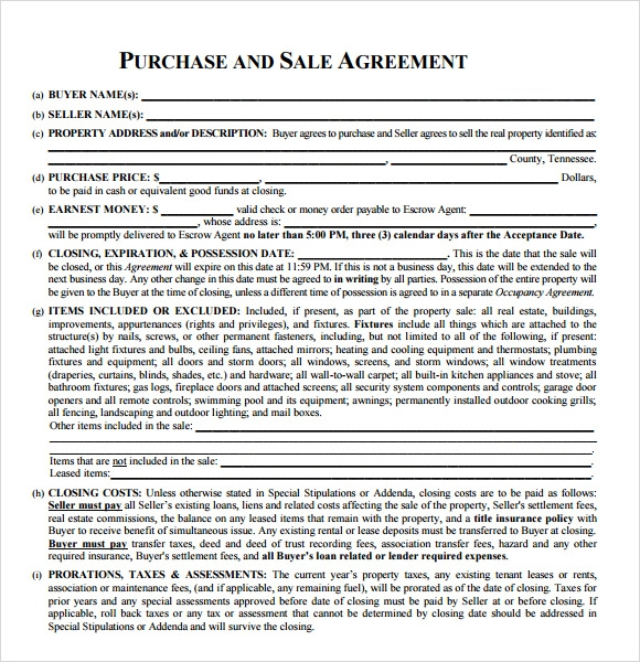 8 Sample Real Estate Purchase Agreements