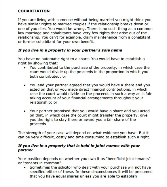 Sample cohabitation agreement 6 example format cohabitation agreement form platinumwayz
