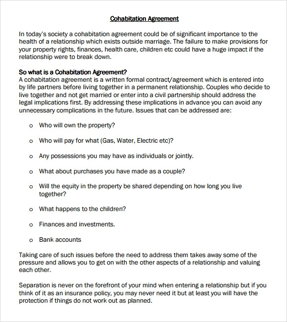 Sample Cohabitation Agreement 6 Example Format – Sample Cohabitation Agreement Template