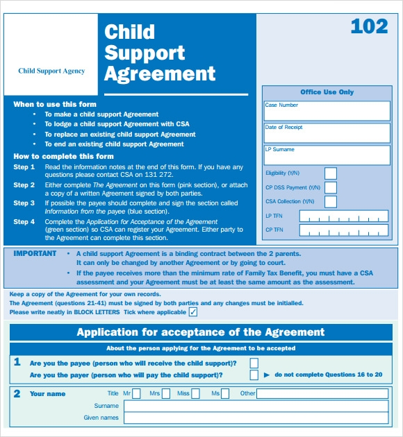 child support agreement template free download