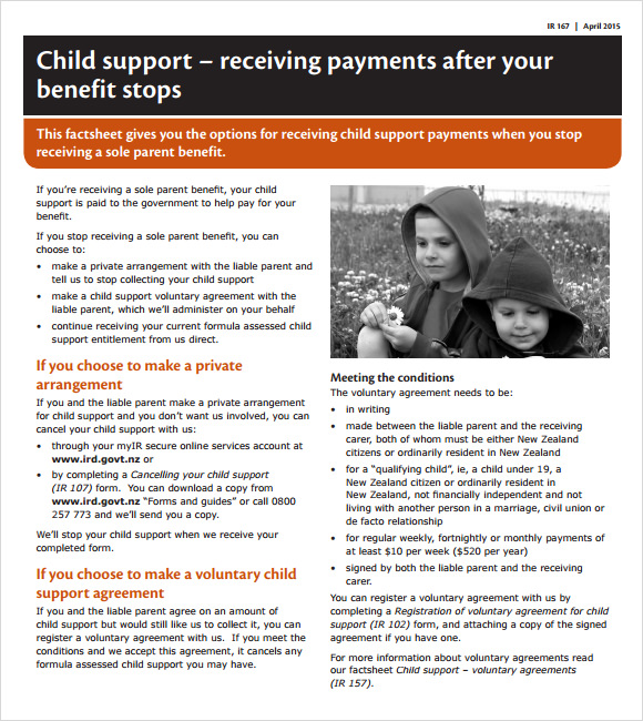Permalink to Child Support Agreement Template
