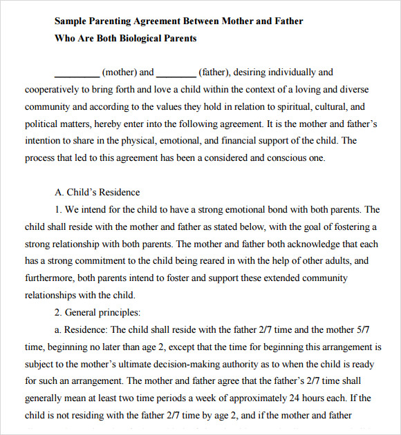 Child Support Agreement Between Parents