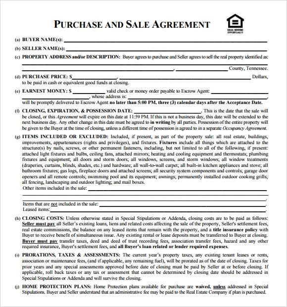 Real Estate Purchase And Sale Agreement Template  Home Purchase Agreement Form Free