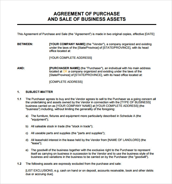10 purchase and sale agreement templates free samples examples