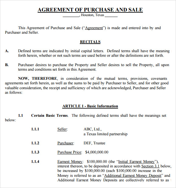 Sample Purchase and Sale Agreement 12 Free Documents in PDF Word – Sample Sales Agreement