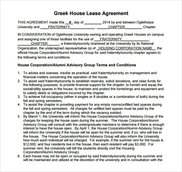 house renters lease agreement