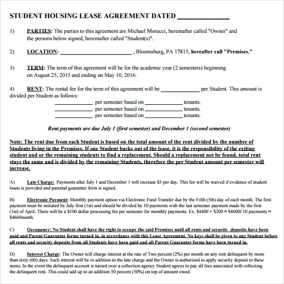 student contracts templates - 10 sample house lease agreements sample templates