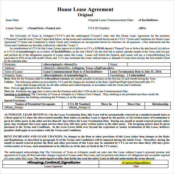 sample house lease agreement template