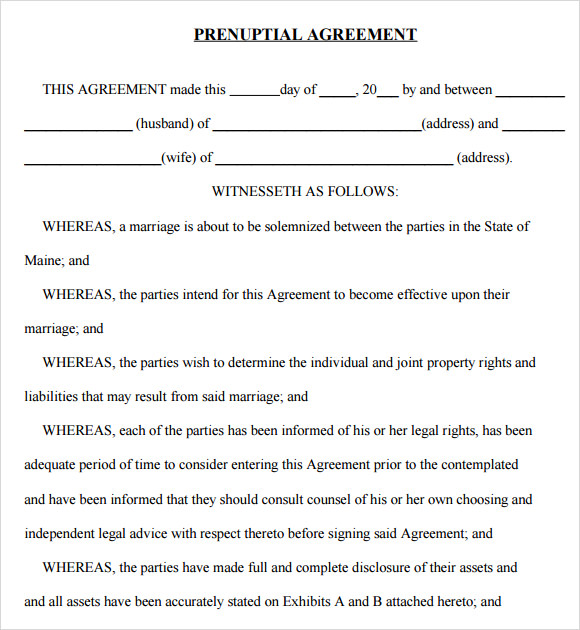 Prenuptial Agreement 8 Free Samples Examples Format