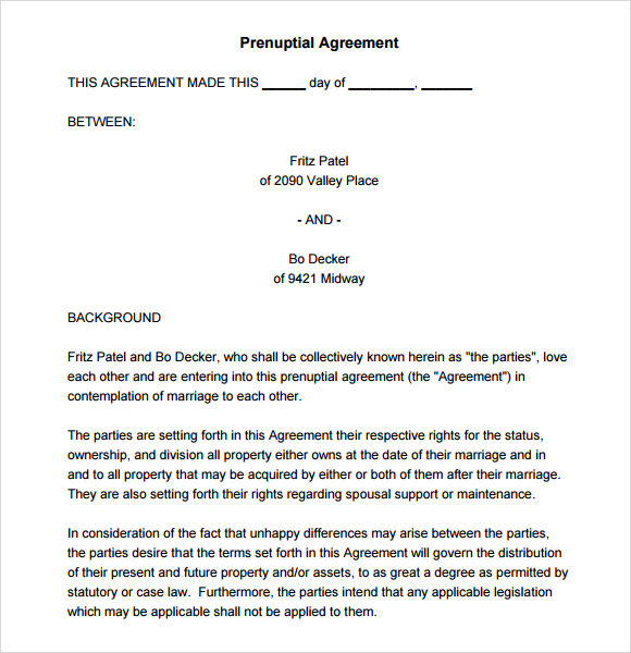 Sample Prenuptial Agreement - 8+ Examples, Format