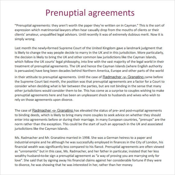 Sample Prenuptial Agreement   Examples Format