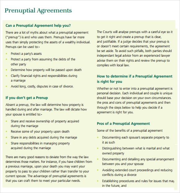 Sample Prenuptial Agreement 8 Examples Format – Sample Prenuptial Agreement Template