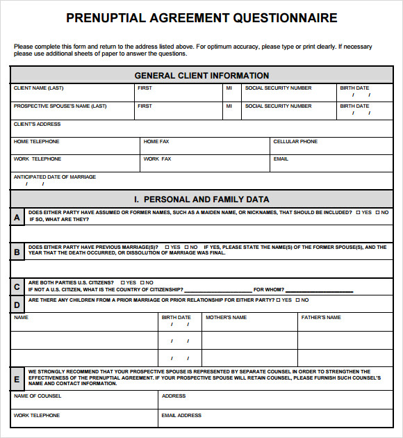 free prenuptial agreement form sample template
