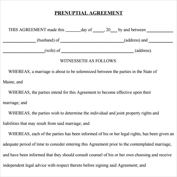 Prenuptial agreement 8 free samples examples format for Online prenuptial agreement template