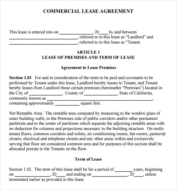 sample commercial lease agreement 7 example format
