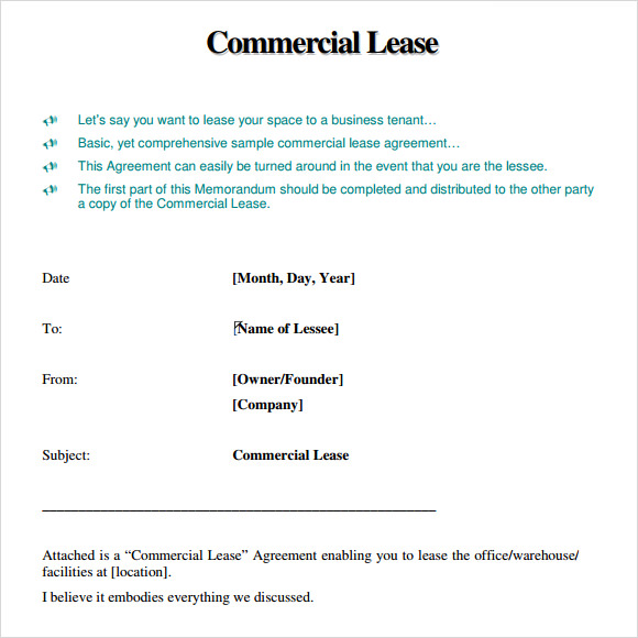 commercial lease agreement 8 free samples examples format sample templates