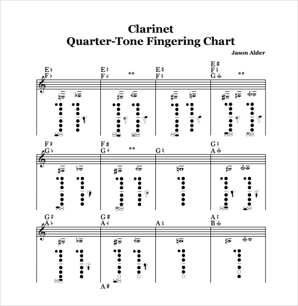 printable clarinet fingering chart