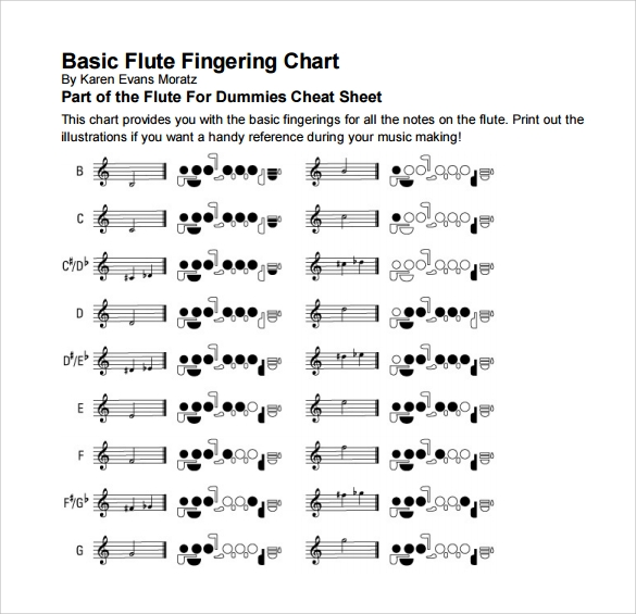 15 flute fingering chart templates free download sample templates
