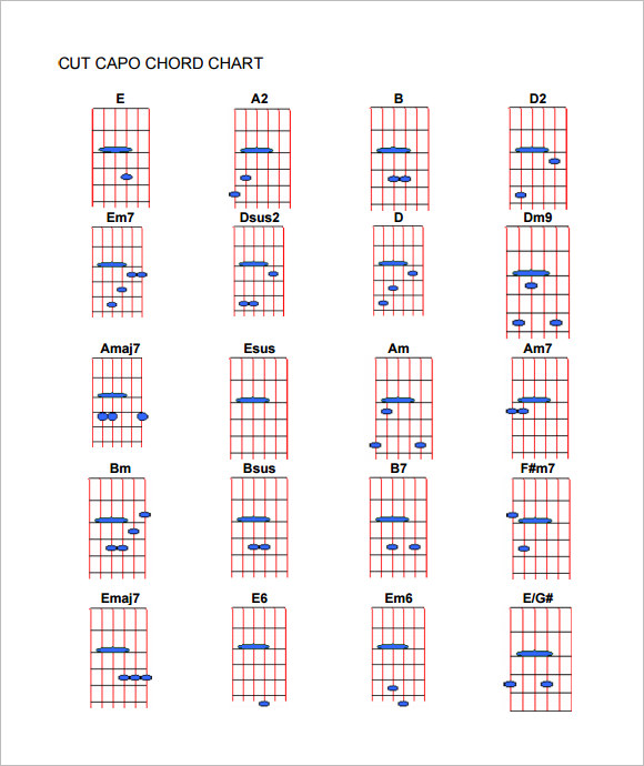 image relating to Printable Guitar Capo Chart called Pattern Capo Chart - 9+ Files within PDF
