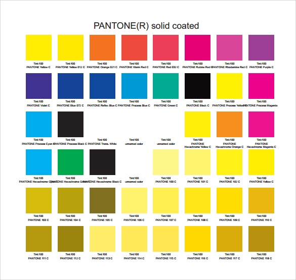 Conosciuto Sample Pantone Color Chart - 6+ Documents in PDF, Word MR35