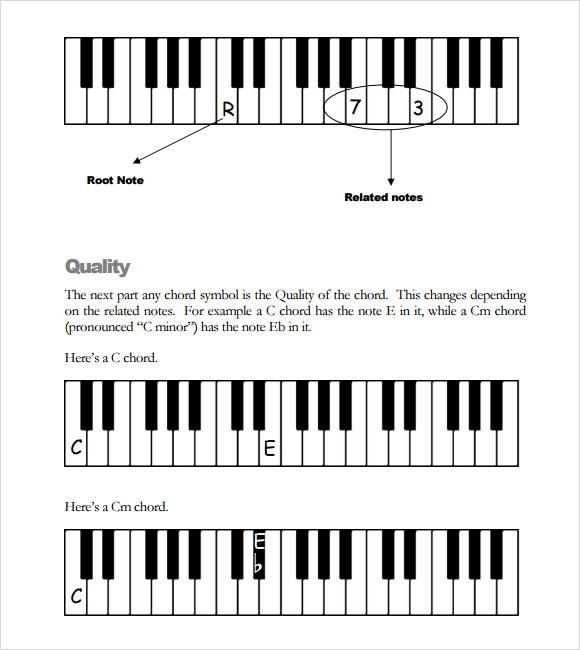 Sample Piano Chord Chart   Free Documents In Pdf