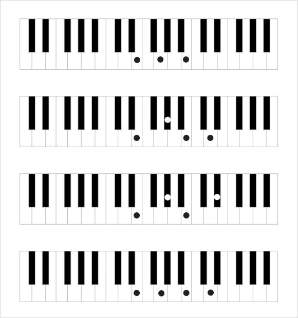 9  sample piano note charts