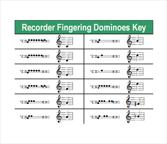 recorder finger chart for mary had a little lamb