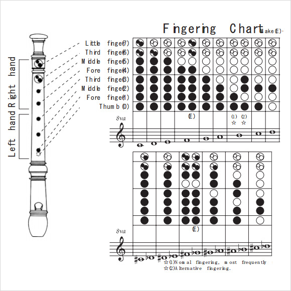 8 sample recorder finger charts sample templates