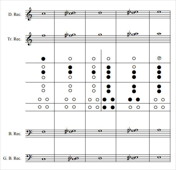 tenor recorder finger chart