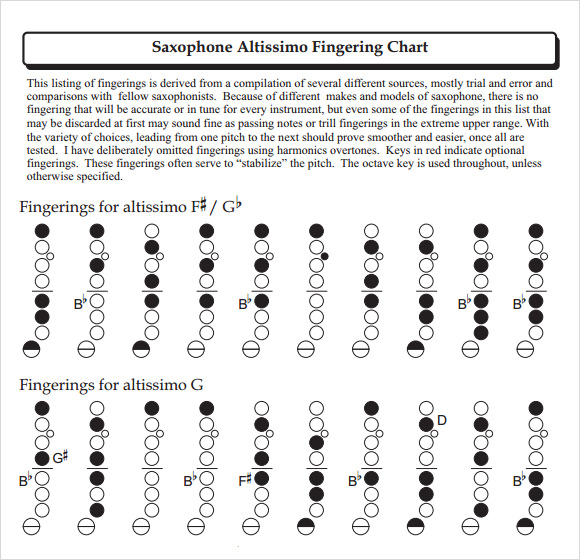 Sample Saxophone Fingering Chart   Documents In Pdf