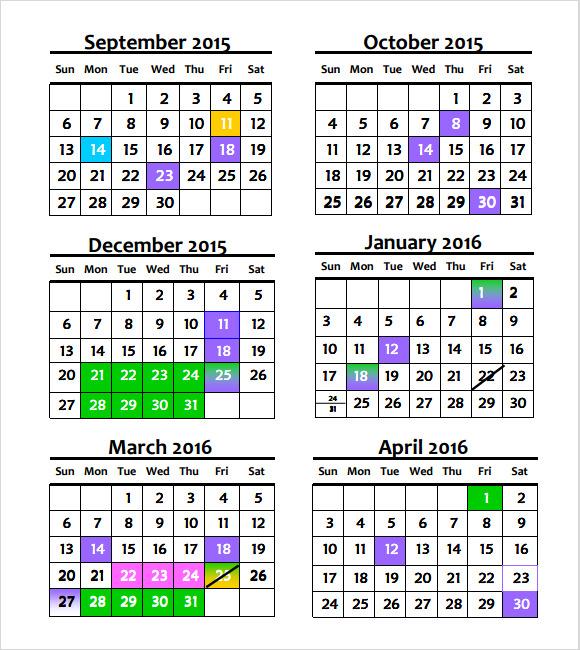 annual calendar template 2015