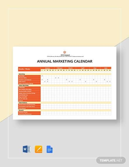 annual marketing calendar template
