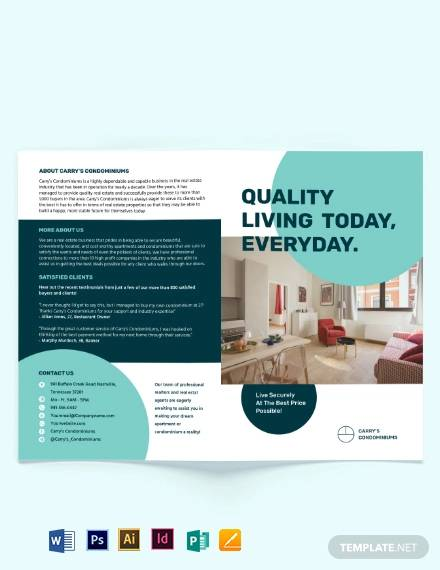 apartment condo sale bi fold brochure template