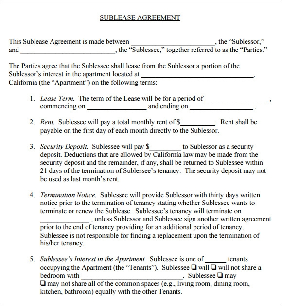 Sublease Agreement 6 Example Format – Sublet Agreement Template