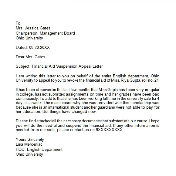 Attractive Appeal Letter Sample