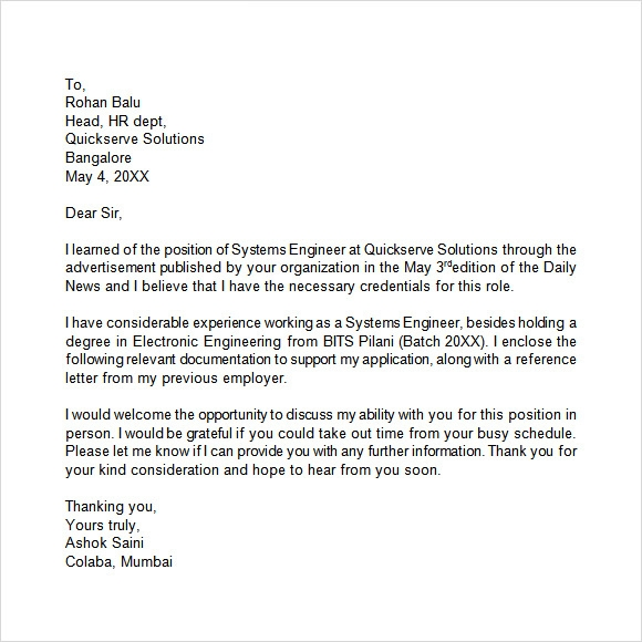 10 application letters free samples examples format sample application letter sample altavistaventures Image collections