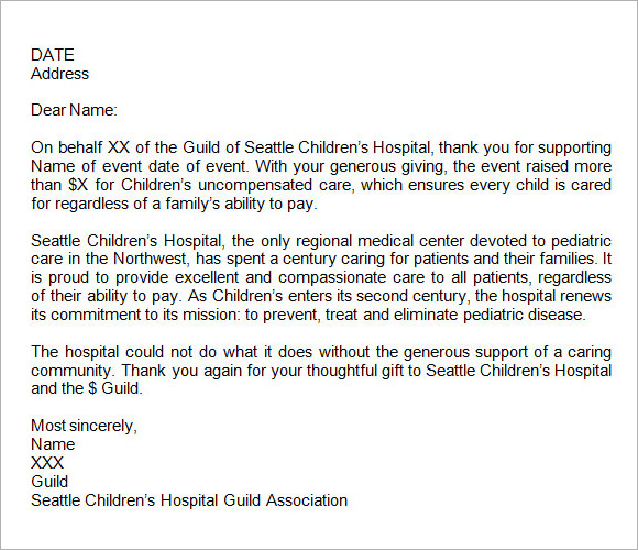 donation letter  u2013 7  free samples   examples   format