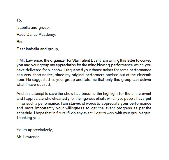 Appreciation Letter   Free Samples  Examples  Format