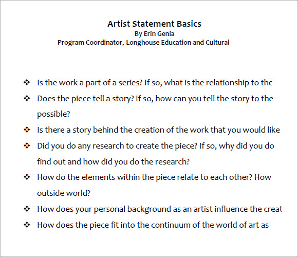 Sample Artist Statement   Documents In Pdf