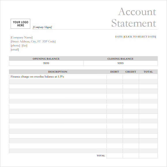 10 bank statement templates free samples examples for Free bank statement template